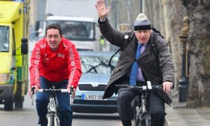 Mayor Boris Johnson with Olympic cyclist Chris Boardman